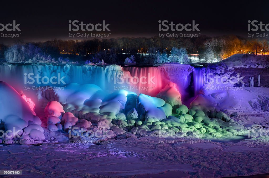 Frozen Colorful Niagara Falls at Night stock photo