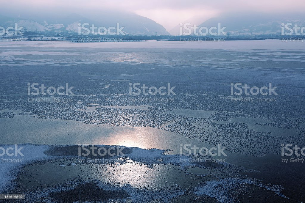 frozen dam royalty-free stock photo