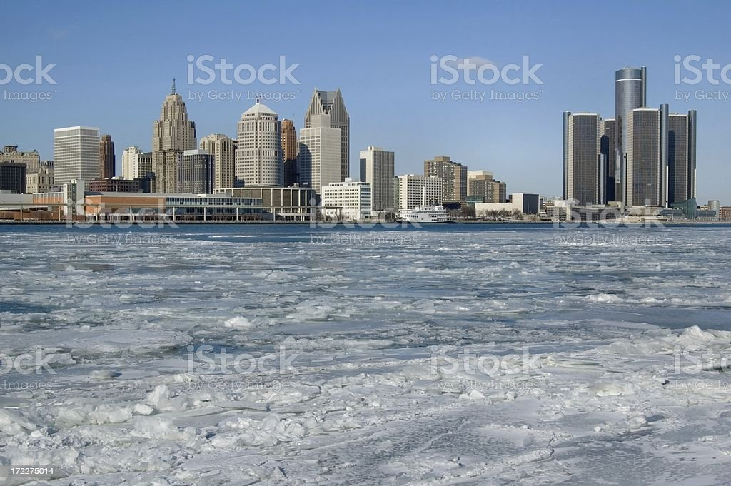 Frozen Detroit River and the Skyline of Detroit royalty-free stock photo