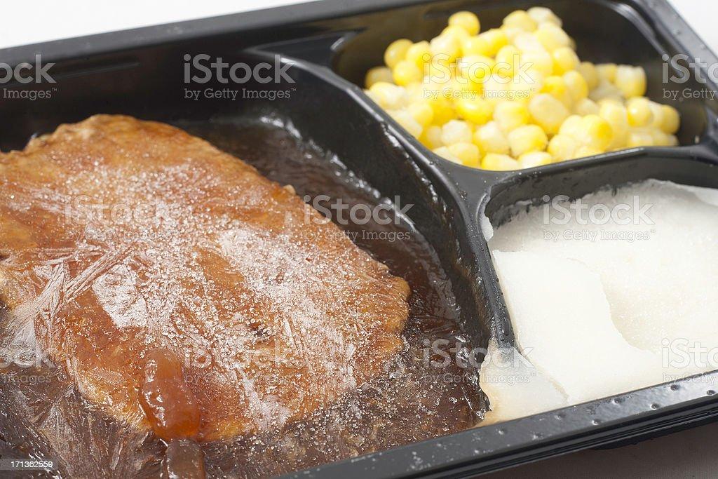 Frozen dinner closeup stock photo