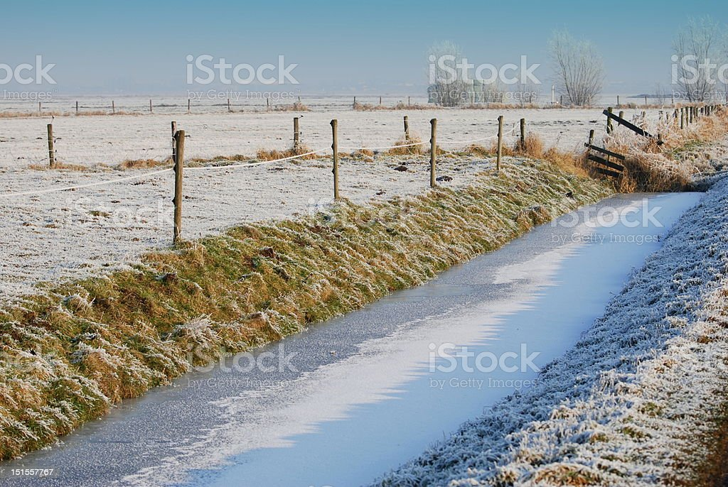 Frozen ditch royalty-free stock photo