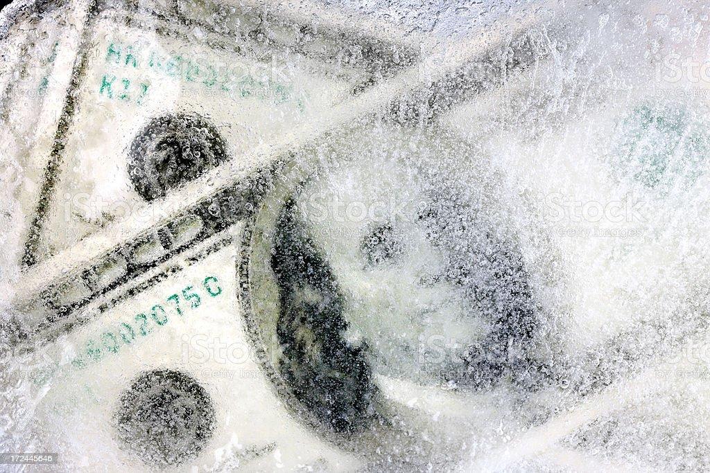 frozen dollars stock photo
