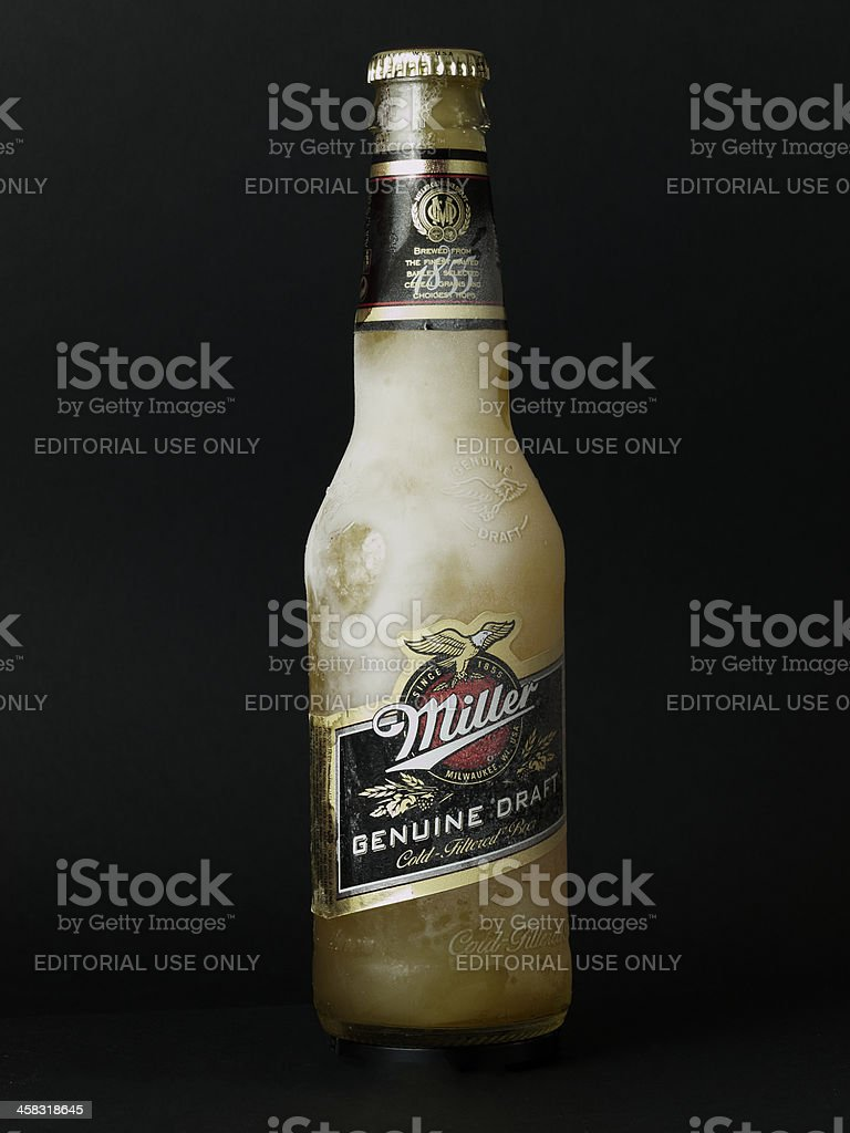 Frozen drink Beer water chips aperitif (Black Background) royalty-free stock photo