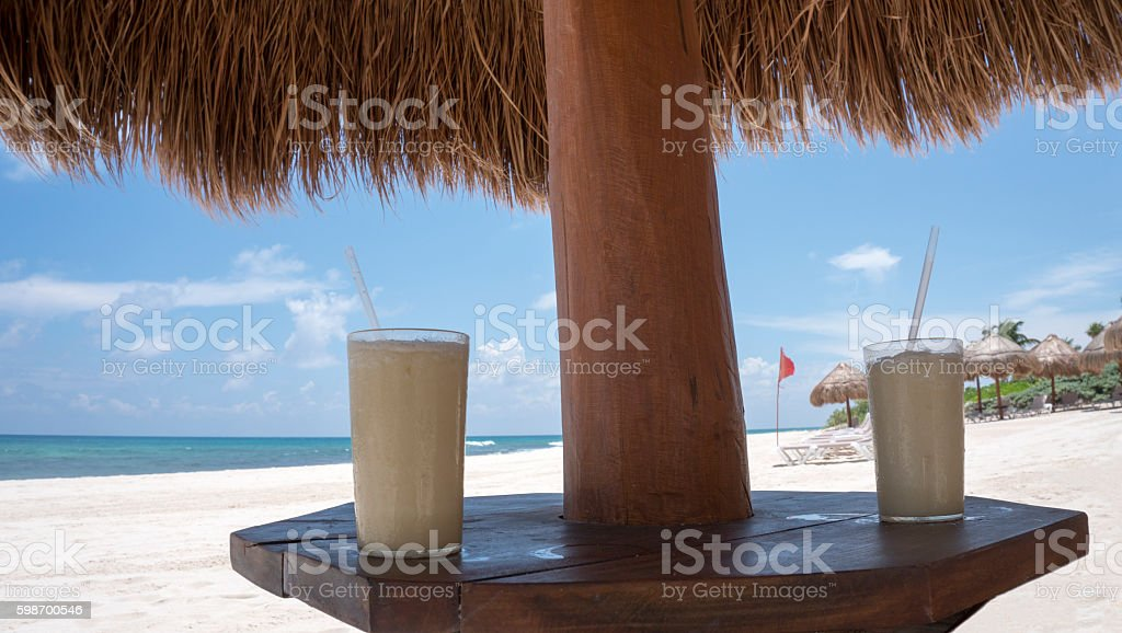 Frozen Drinks at the Beach stock photo