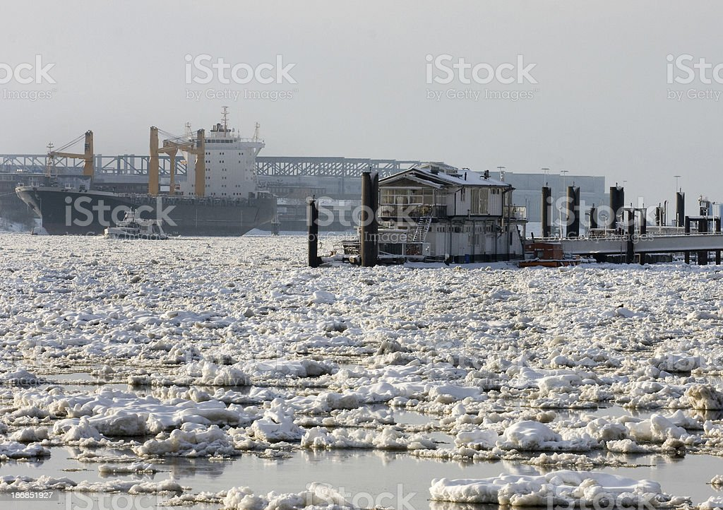 Frozen Elbe stock photo