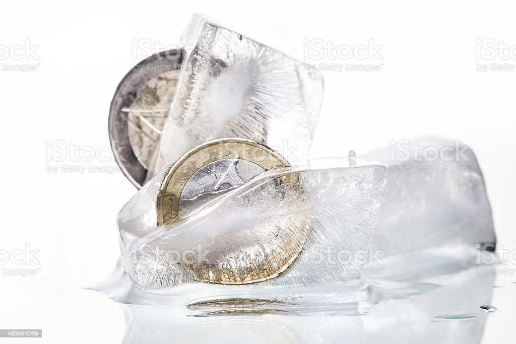 Frozen euro coins stock photo