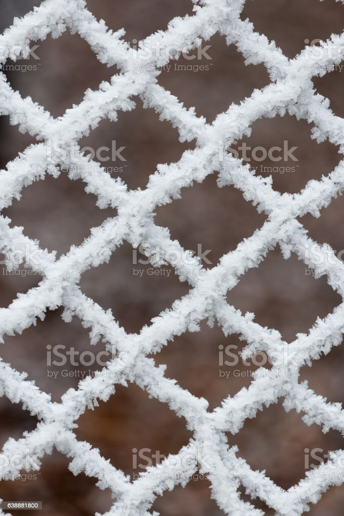 Frozen fence on a cold winter day stock photo