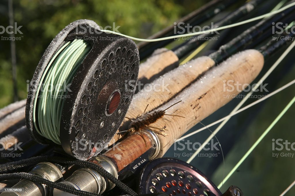 Frozen fly rods and reels royalty-free stock photo