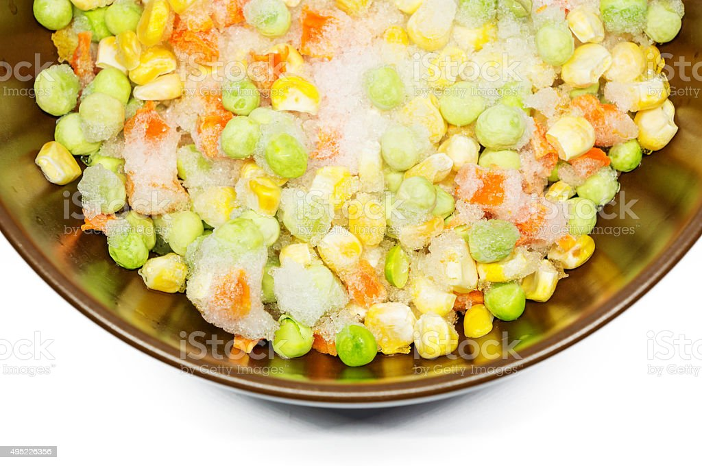 Frozen food carrots and peas stock photo