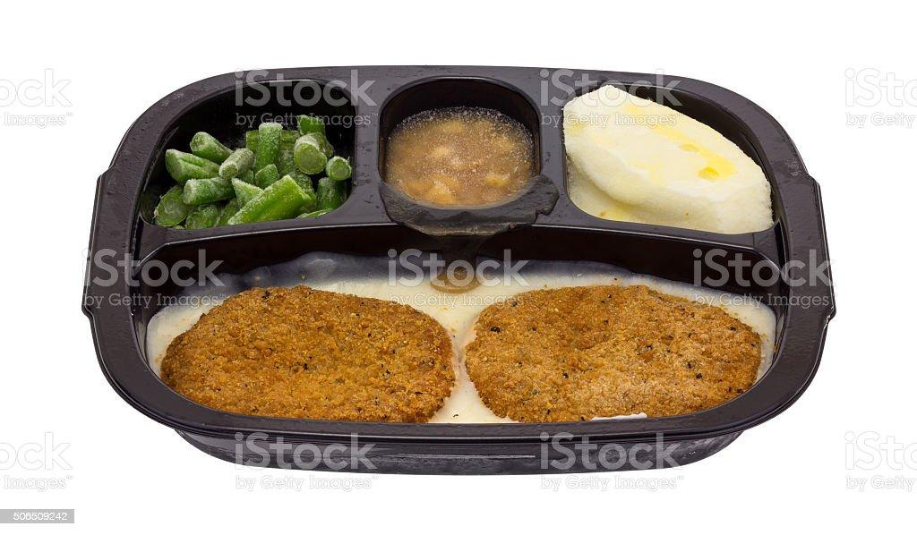 Frozen fried chicken patties TV dinner stock photo