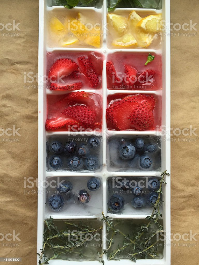 Frozen Fruit and Herbs stock photo