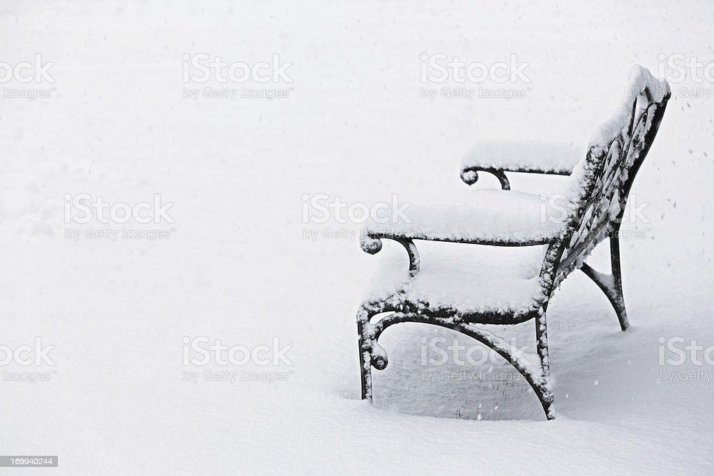 Frozen Garden Bench stock photo