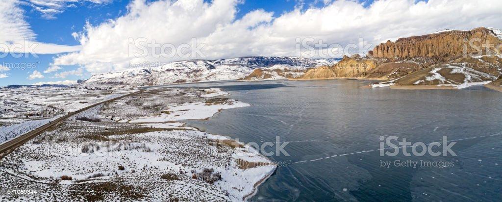 Frozen Gunnison River, Colorado Rocky Mountains stock photo