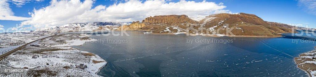 Frozen Gunnison River Panorama Southwestern Colorado Rockies, United States of America stock photo