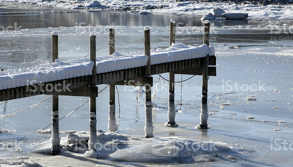 Frozen harbor with pier. royalty-free stock photo