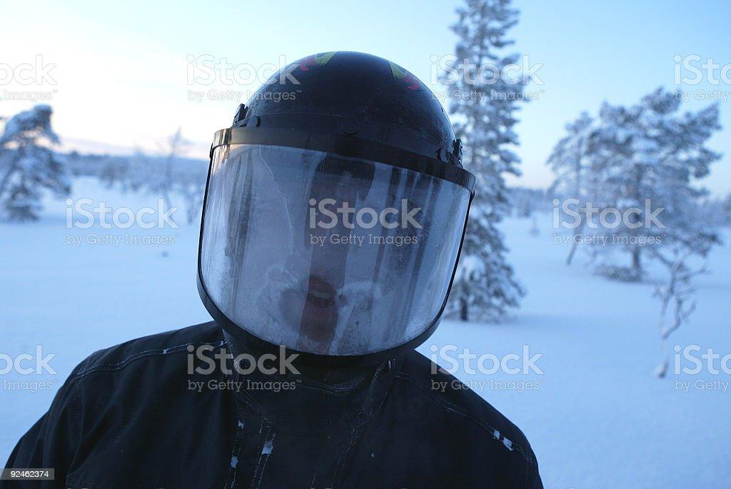 frozen helmet visor snowmobile expedition royalty-free stock photo