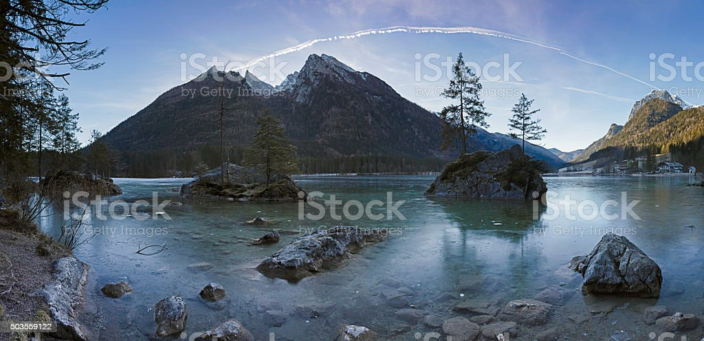 Frozen Hintersee in bavarian Alps stock photo