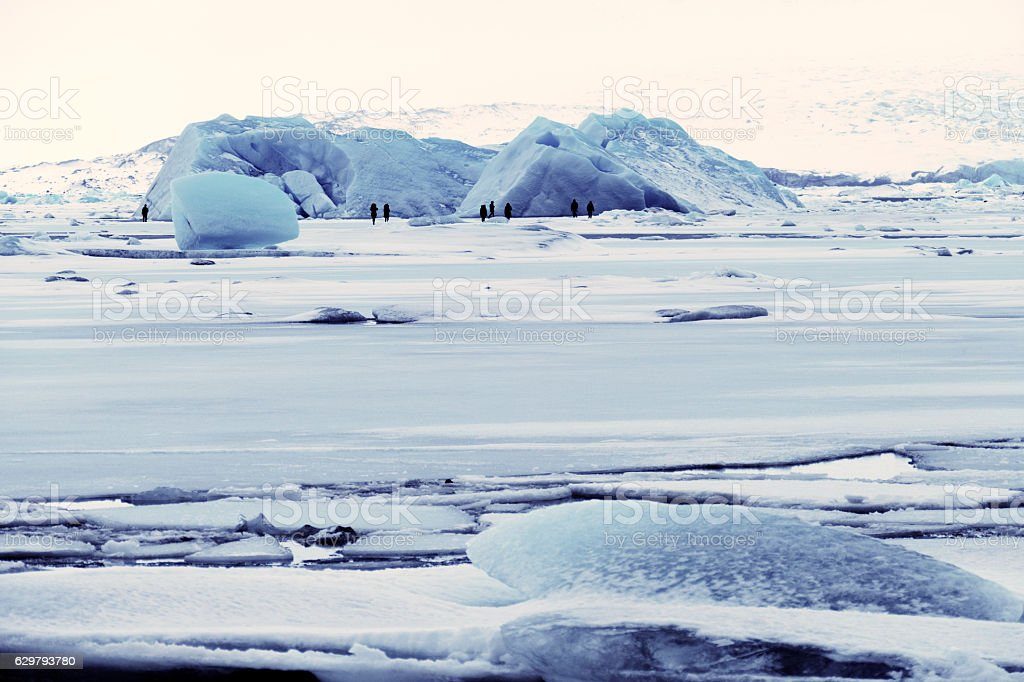 Frozen ice floes at Jokulsarlon glacial lagoon in winter, Iceland stock photo