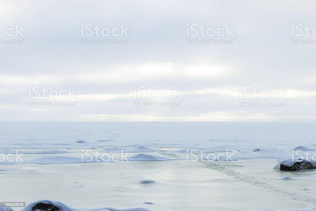 frozen Icy coastline of the bay royalty-free stock photo