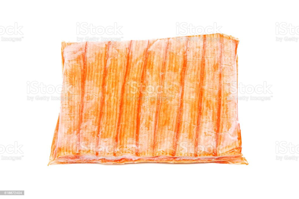 frozen Imitation crab sticks on white background. stock photo