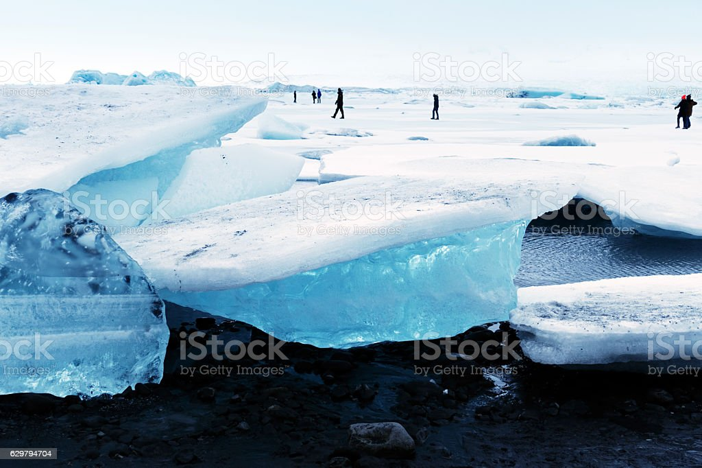 Frozen Jokulsarlon glacial lagoon in winter, Iceland stock photo
