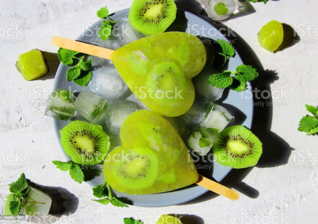 Frozen kiwi lemonade stock photo