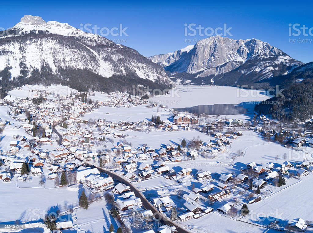 Frozen Lake Altausee, Mountains Loser and Trisselwand, Winter Panorama, Austria stock photo