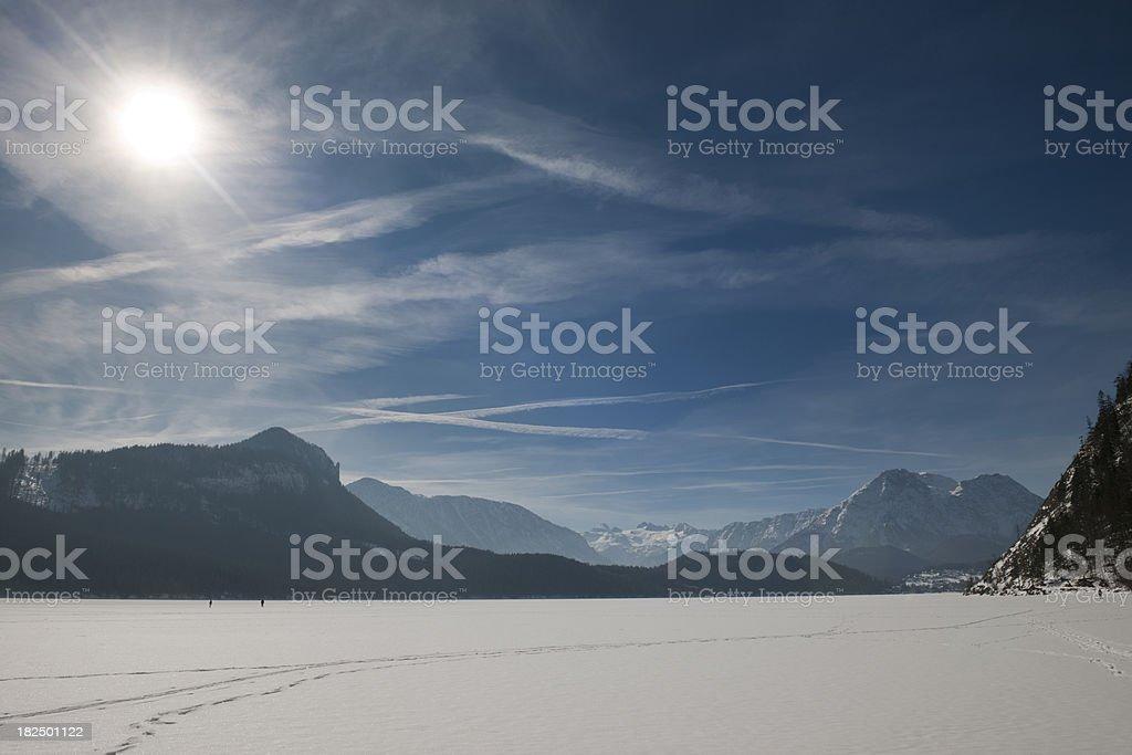 Frozen Lake Altaussee with Glacier Dachstein Panorama (XXXL) royalty-free stock photo