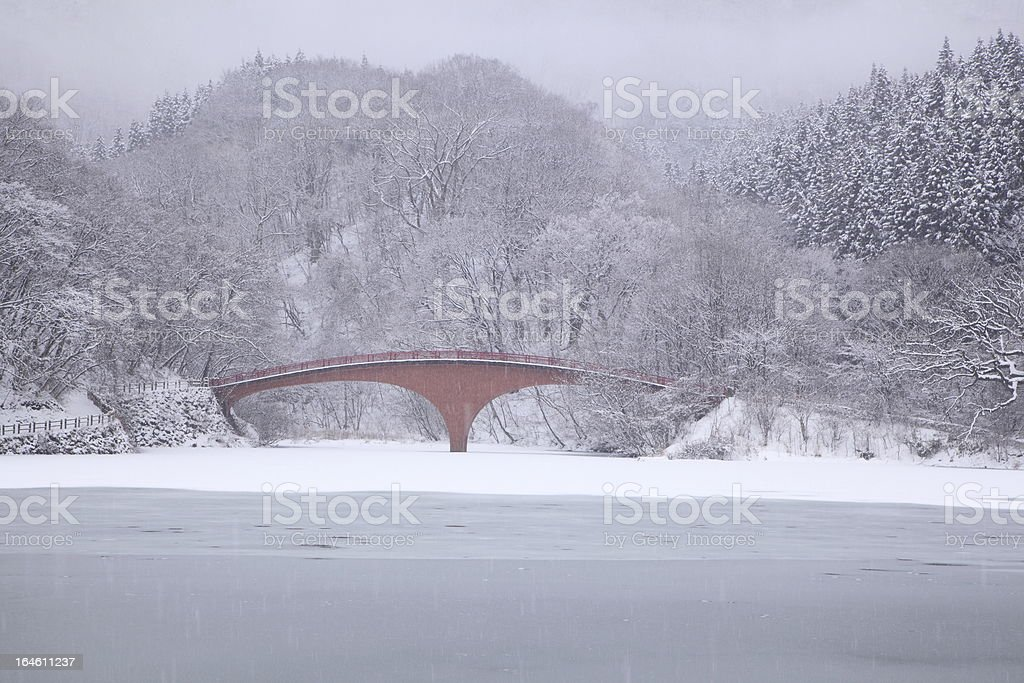 Frozen lake and bridge royalty-free stock photo