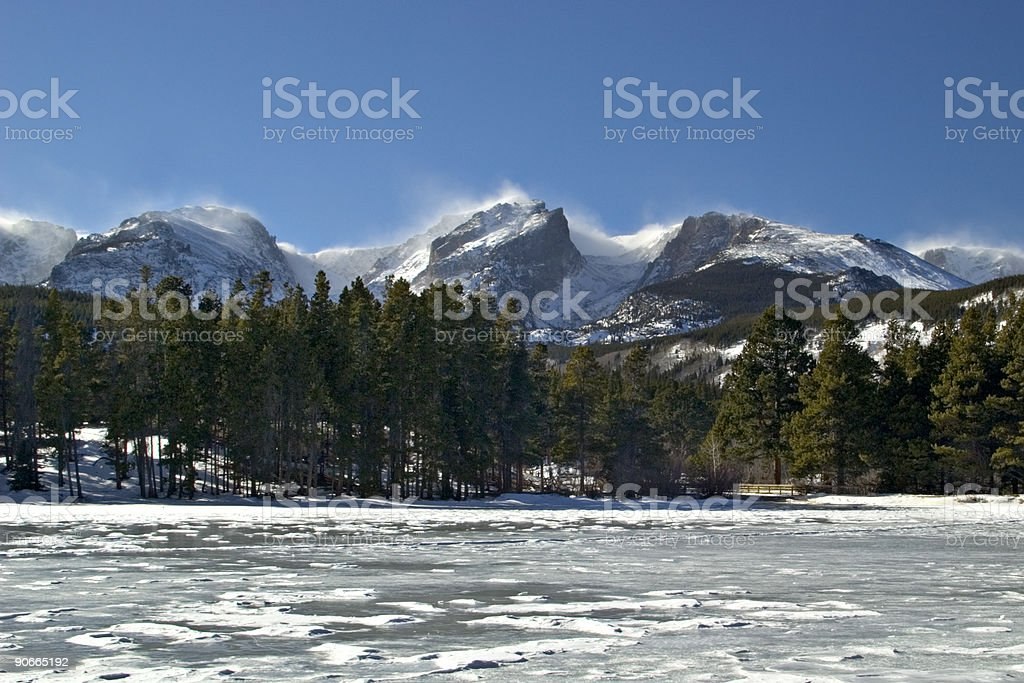 Frozen Lake and Rugged Mountain Peaks in Winter stock photo