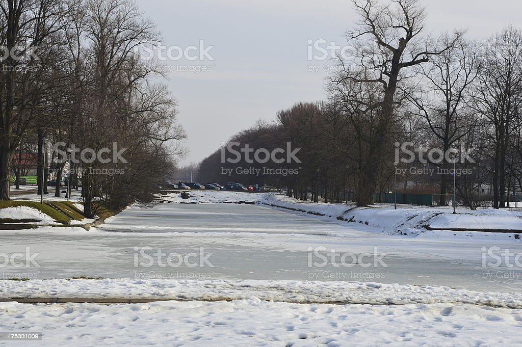 Frozen lake at Agrykola Park in Warsaw royalty-free stock photo