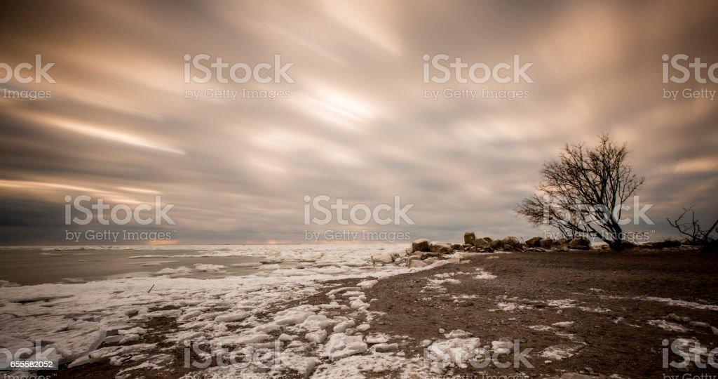Frozen Lake Erie stock photo