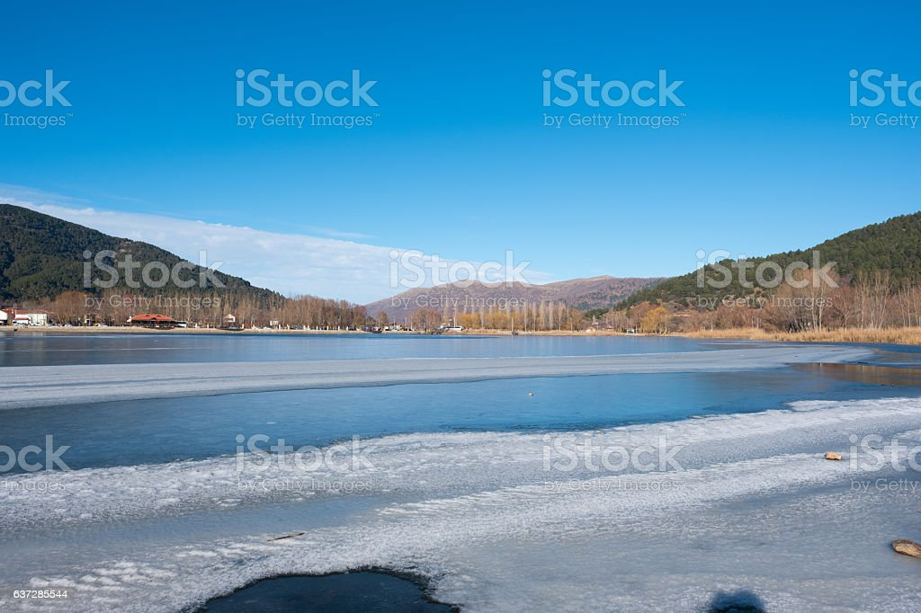 Frozen Lake Golcuk in Odemis town stock photo