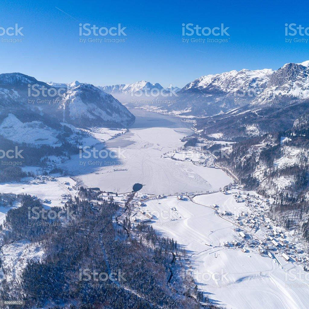 Frozen Lake Grundlsee, Arial Winter Panorama, Austria stock photo