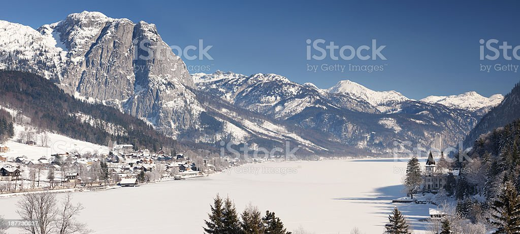 Frozen Lake Grundlsee covered with snow, Austria stock photo