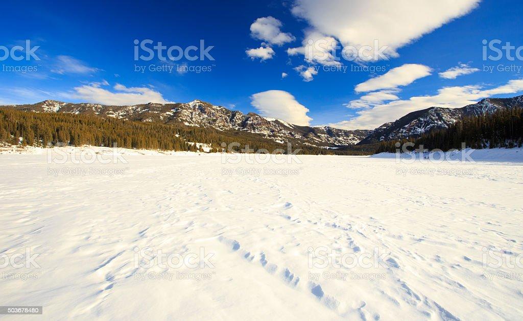 Frozen Lake Hyalite Reservoir. stock photo