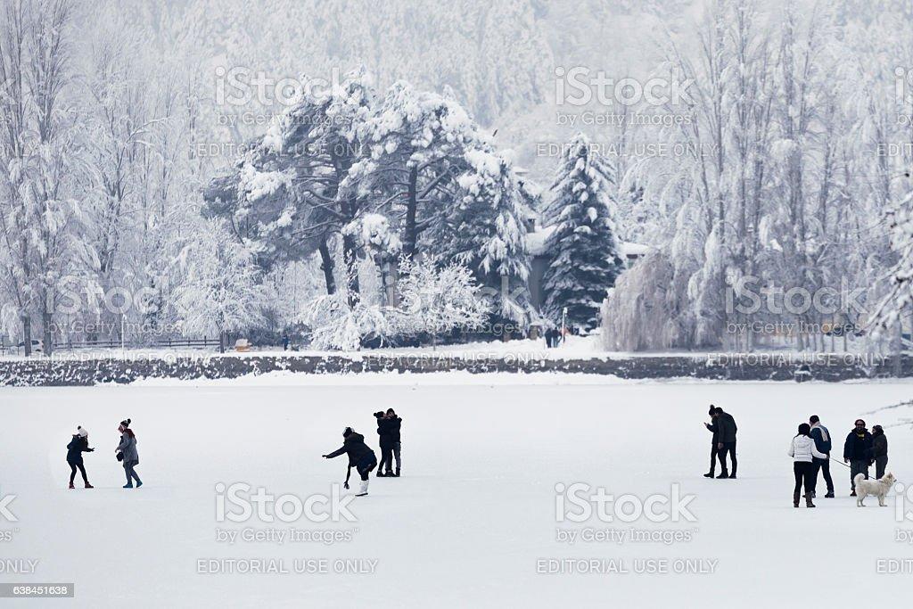 Frozen lake in Golcuk. stock photo