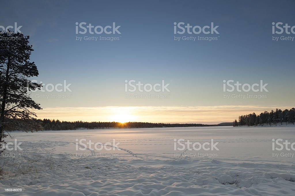 Frozen Lake in Inari, Finland royalty-free stock photo