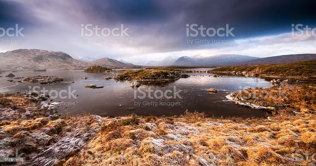 Frozen lake in the Highlands of Scotland stock photo