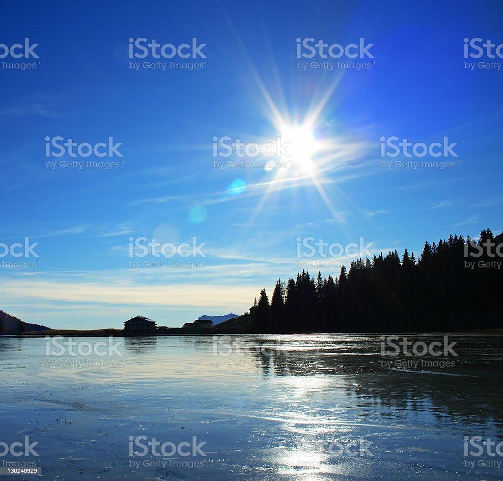 Frozen lake - Lens Flare royalty-free stock photo