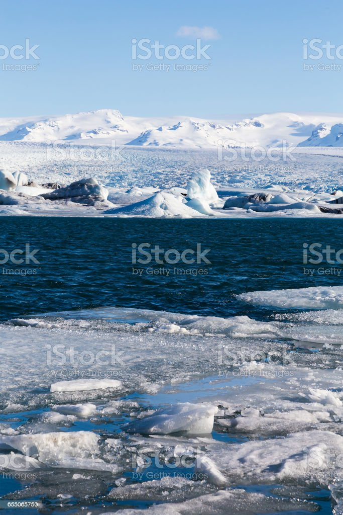 Frozen lake locate in Jokulsarlon glacier stock photo