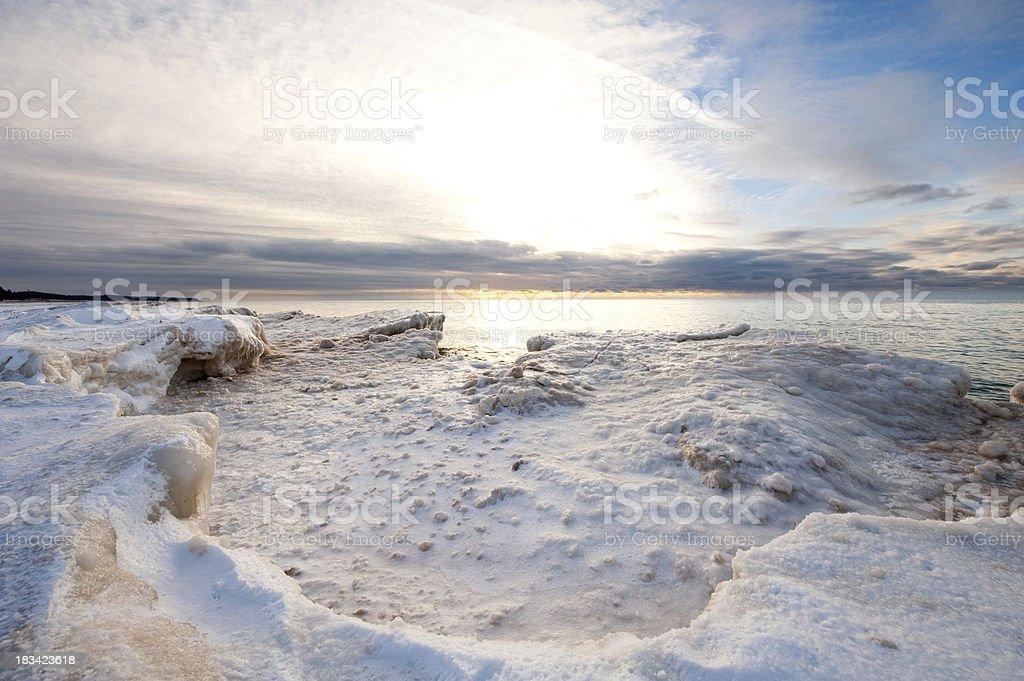 Frozen Lake Michigan stock photo
