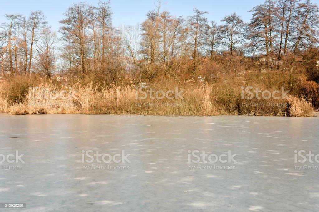 Frozen lake of Muzzano near Lugano stock photo