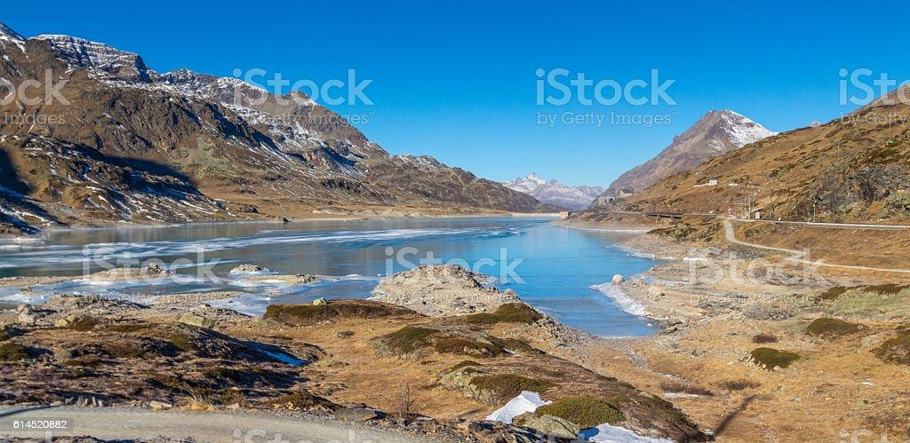 Frozen lake - White lake stock photo