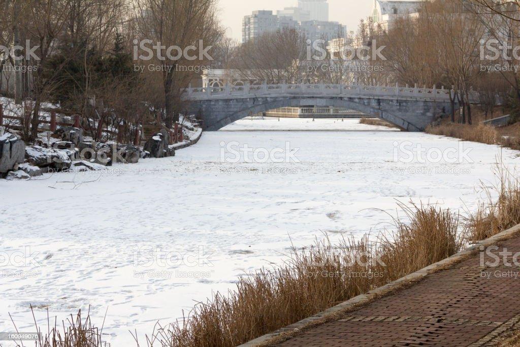 Frozen lake with snow royalty-free stock photo
