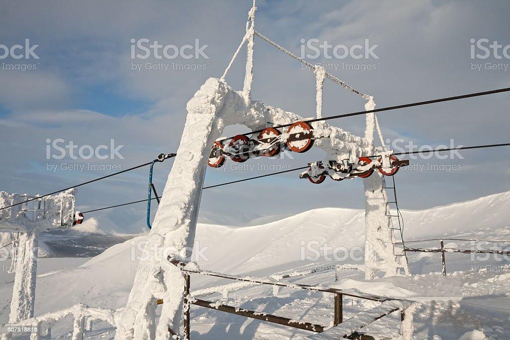 Frozen metal support stock photo
