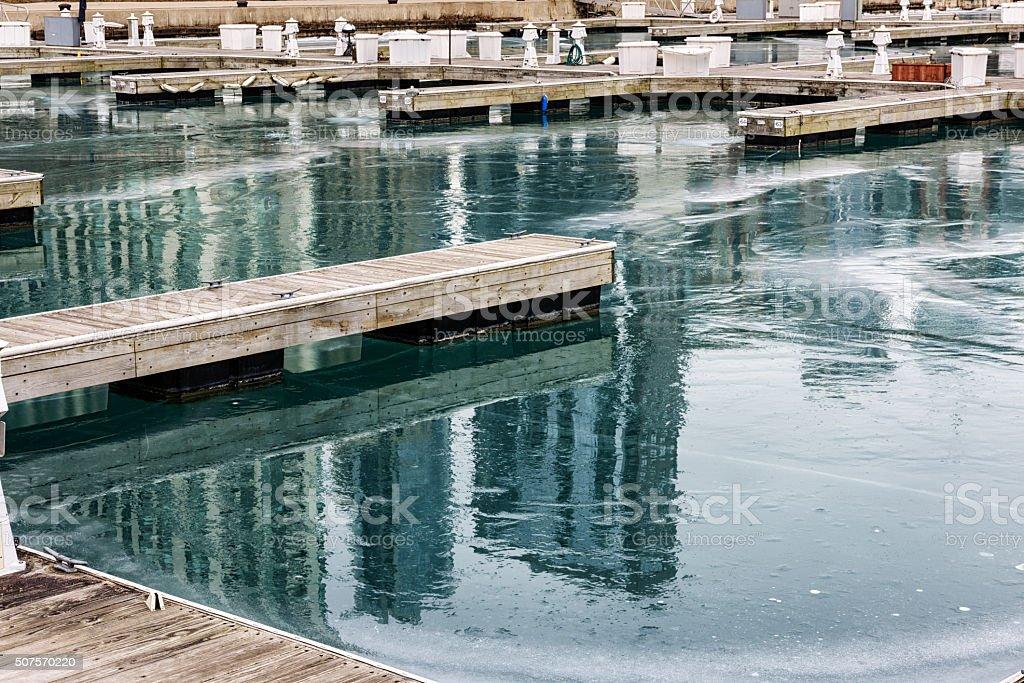 Frozen Monroue Harbor, Chicago stock photo