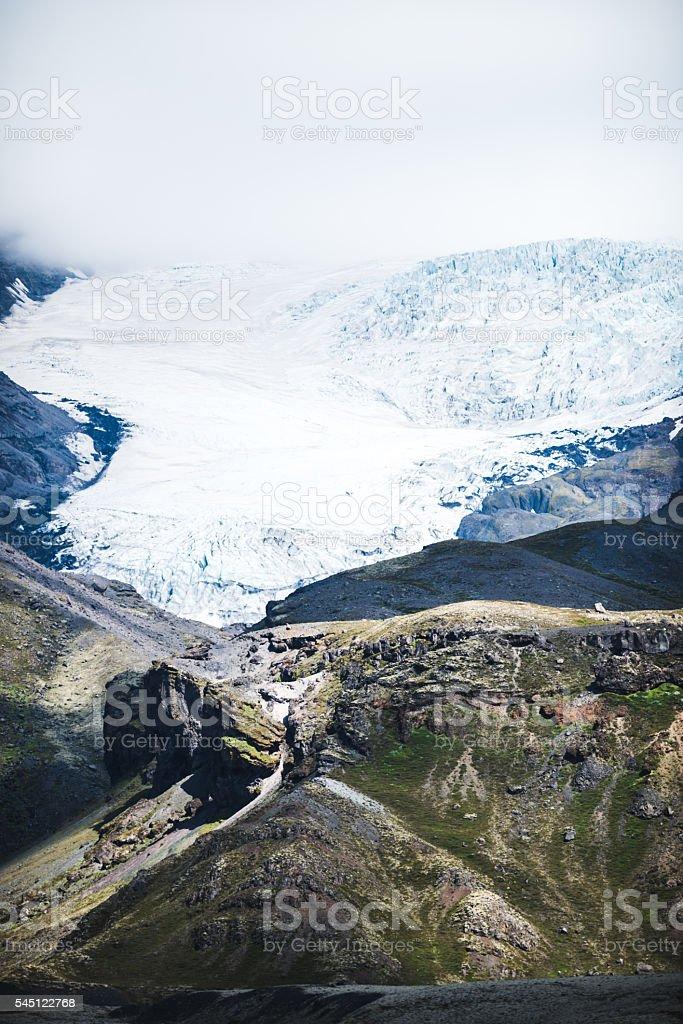 Frozen mountain peaks stock photo