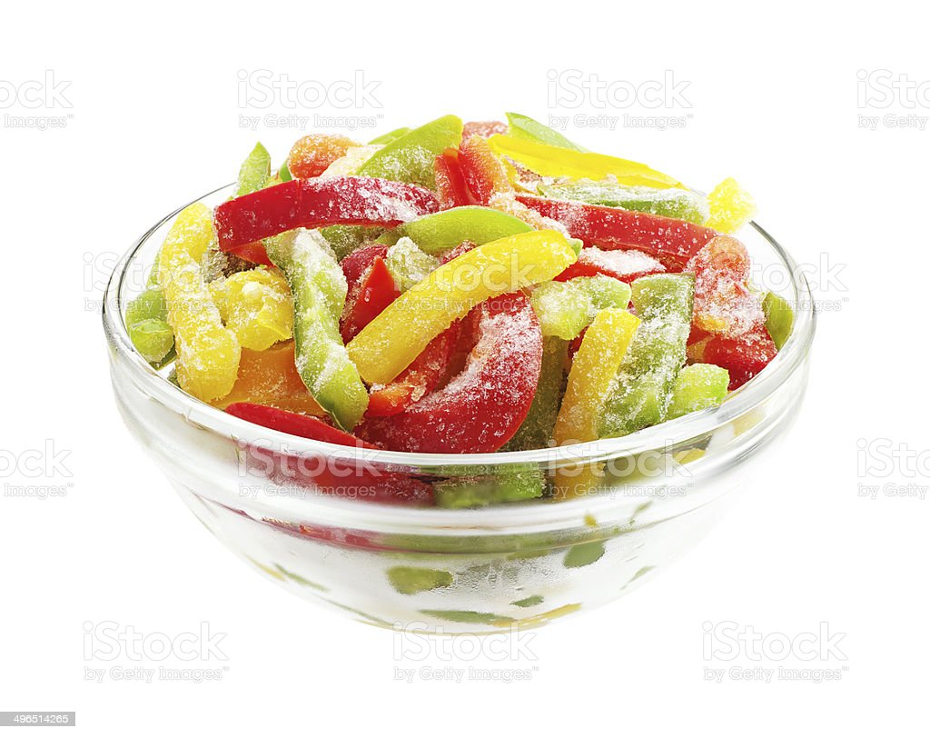 Frozen multicolored peppers slices stock photo