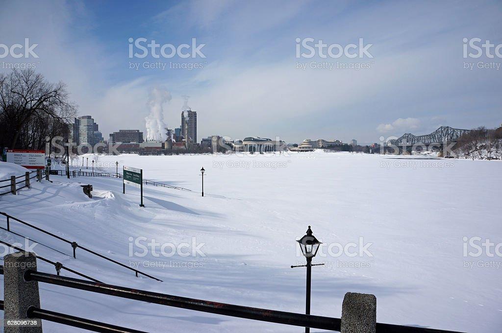 Frozen Ottawa River stock photo